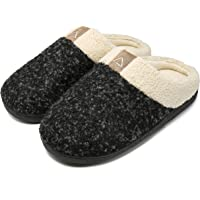 Aimony Womens Slippers Memory Foam Comfort Fuzzy Plush Lining Slip On House Shoes Indoor Outdoor Anti-Skid Rubber Sole
