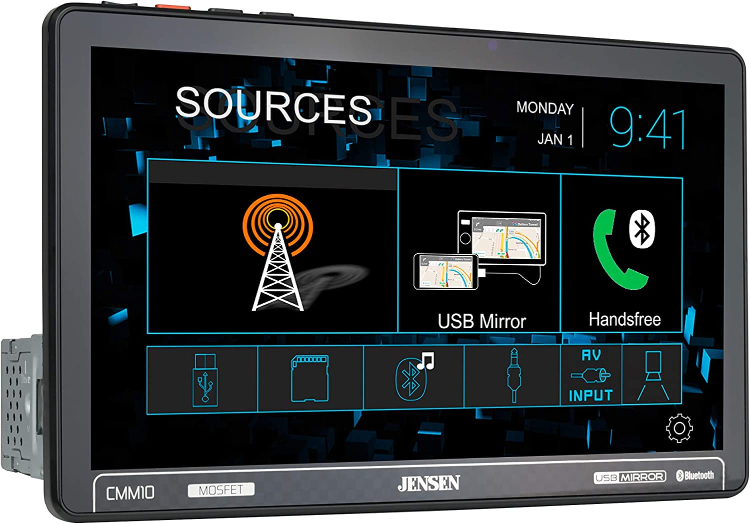 JENSEN CMM10 10.1 inch: Best LED Multimedia Touch Screen Single Din Car Stereo