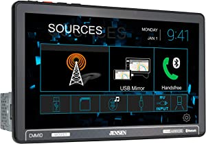 JENSEN CMM10 10.1 inch LED Multimedia Touch Screen Single Din Car Stereo |USB Screen Mirroring | Push to Talk Assistant | Bluetooth | Steering Wheel Control | Front & Rear Camera | USB & microSD