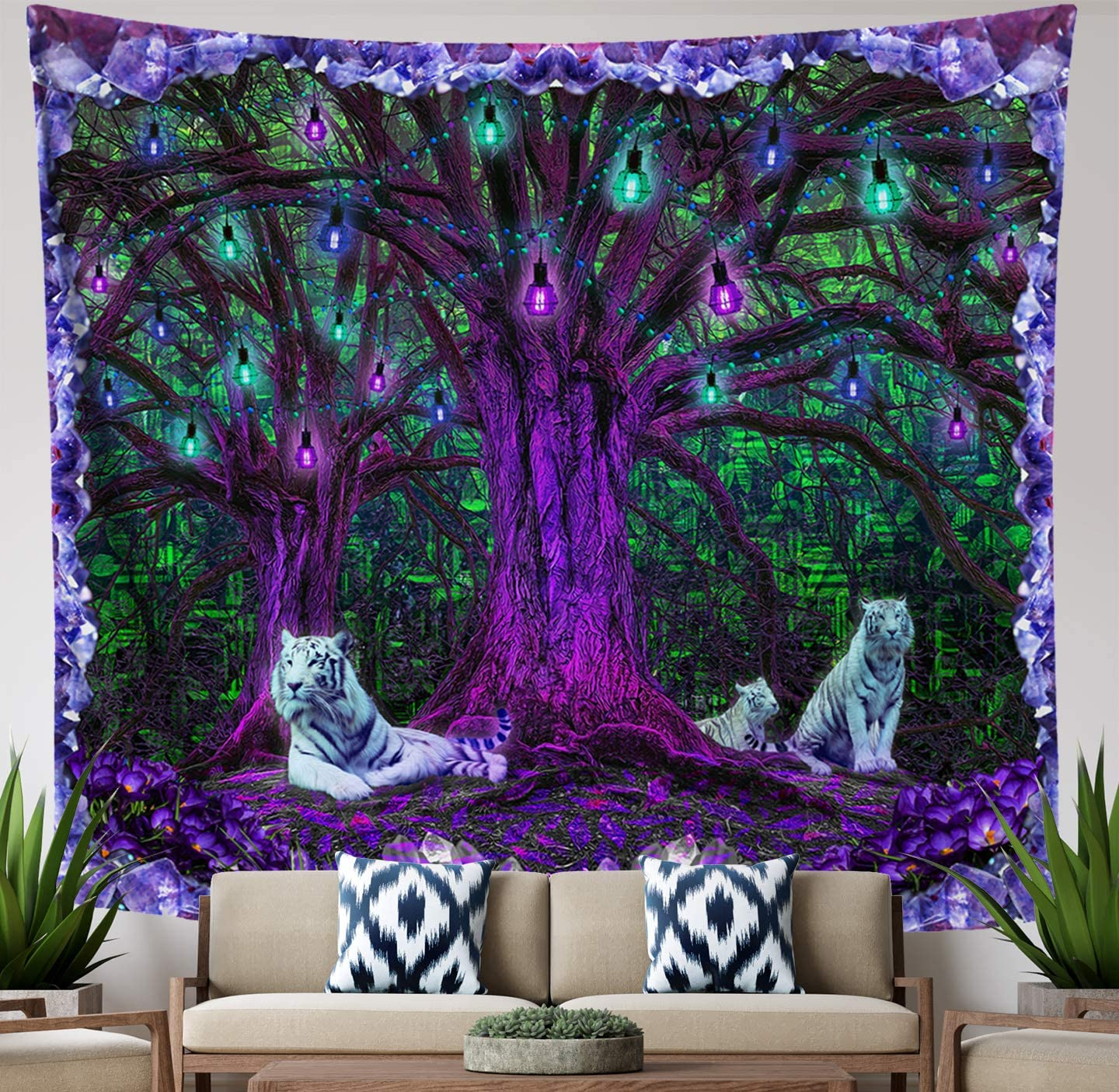 Lucid Eye Studios Tiger Tree Psychedelic Tapestry- Green Matrix Wall Hanging- Amethyst Room Decor- Nature Forest Tapestry- Tree of Life Leaves Pattern- Dorm Wall Art (58 x 51 inches)