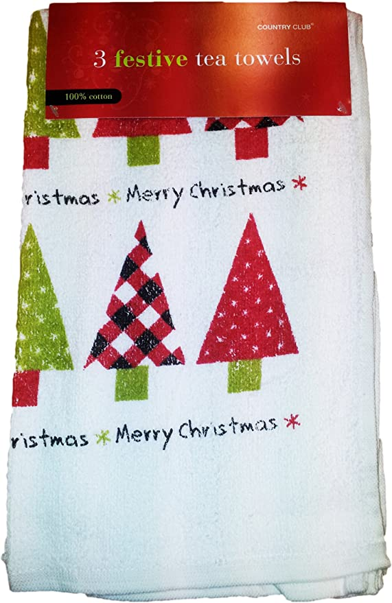 Xmas Tea Towels 3pk Amazon Co Uk Kitchen Home