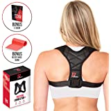 PRO PERFORMANCE+ Posture Corrector | Clavicle Support For Upper Back Neck & Shoulders | Corrects Posture | Fully Adjustable & Invisible for Women & Men | Bonus Resistance Band & E-Book