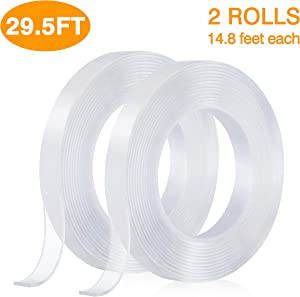 Nano Double Sided Tape,Removable Gel Grip Tape Transparent Sticky Tape,Reusable Traceless Mounting Adhesive Tape Heavy Duty for Fix Carpet Photo Poster,Home Office Car Outdoor Decor(2Rolls 9M/29.5FT)