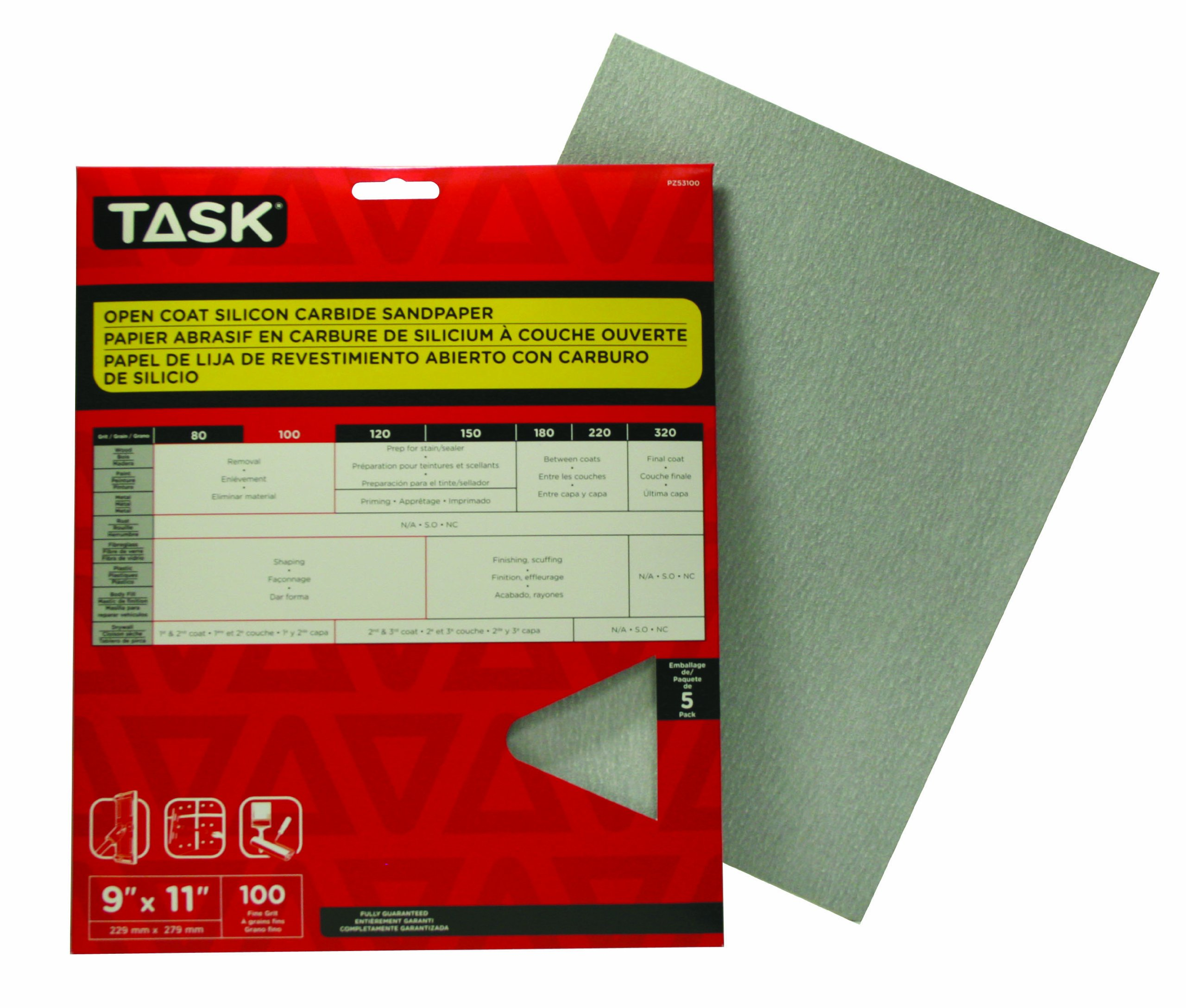 Task Tools PZ53100 9-Inch by 11-Inch Open Coat Drywall Sandpaper, 100 Grit, 5-Pack