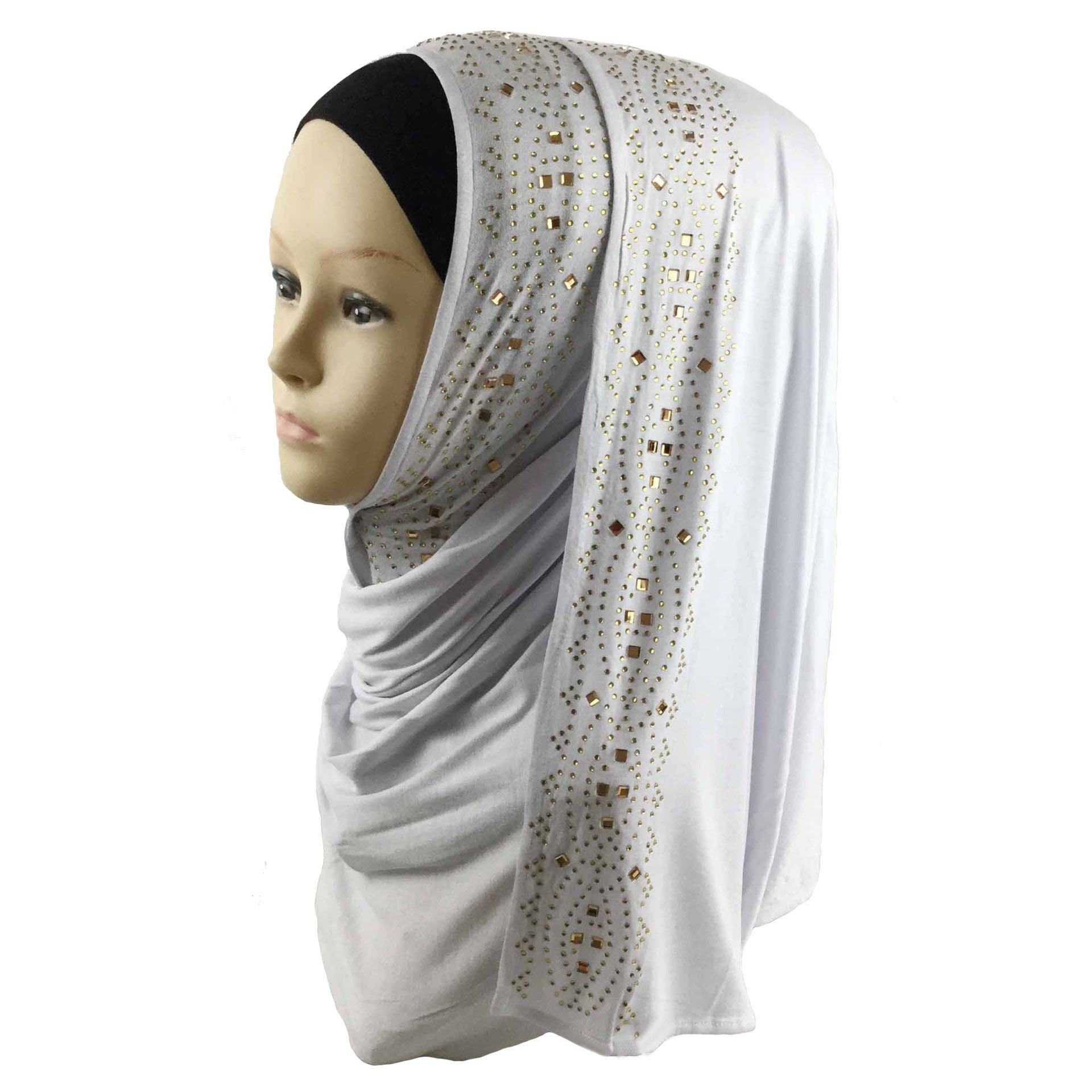 Cotton Jersey Hijab Scarf Wrap Glittering Rhinestones Scarf for Women Solid Color Scarf (White)