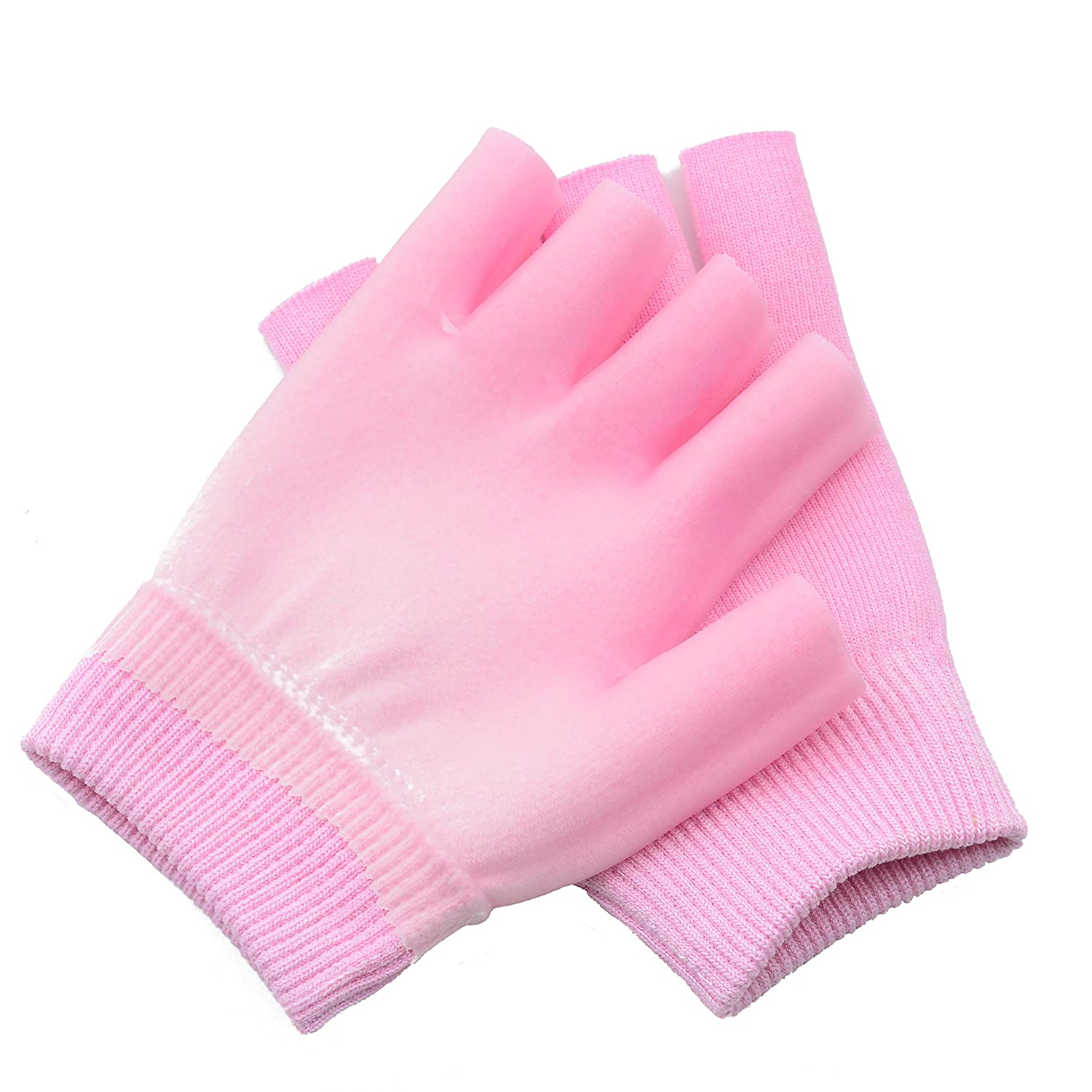 1 Pair Moisturizing Spa Gloves Half Finger Touch Screen Gloves Gel Line with Essential Oils and Vitamin E (Pink feather) Makhry