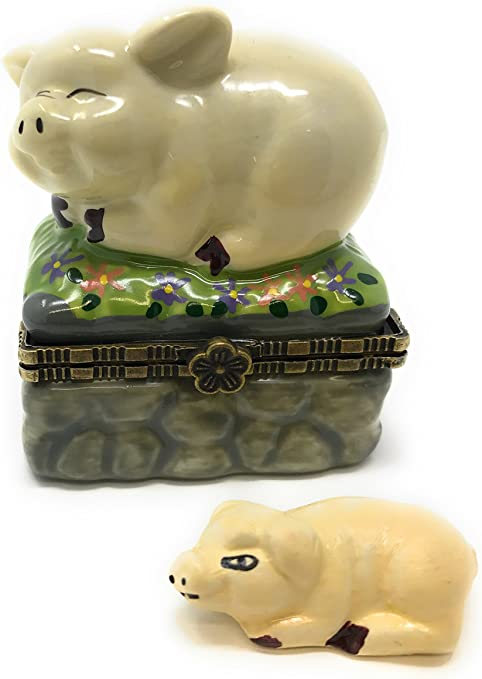 By ArtGifts Dinosaur Hinged Lid Porcelain Trinket Box with Tiny Trinket Inside 2.5L