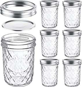 16 Oz Mason Jars Glass Wide Mouth Canning Jars with Airtight Lids & Band, Quilted Crystal Jelly Jars for Jams, Food Storage, Prep, Pickles, Preserves, Overnight Oats, Spices, Salad, Drinking-6 Pack