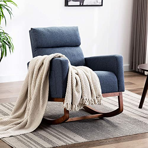 Altrobene Modern Rocking Chair Fabric High Back Armchair Upholstered Accent Chair