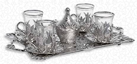 HIGH END Silver plated Tea Service Set for 6 - Made in Turkey - 15 pieced  sc 1 st  Amazon.com : silver plated tea sets - pezcame.com