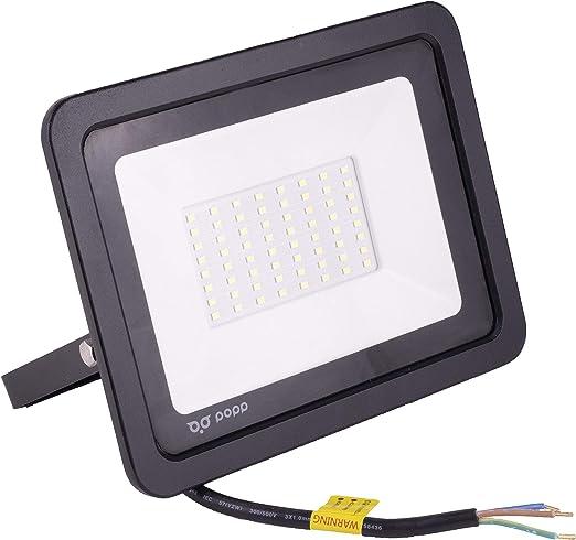 POPP® Foco Proyector LED 50W para uso Exterior Iluminación Decoración 6000K luz fria Impermeable IP65 Negro y Resistente al agua. (50): Amazon.es: Iluminación