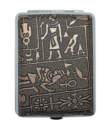 Meta-U misterioso egipcio pitillera de glifos de metal (tiene 16)