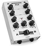 Pronomic DX-10SL DJ Mixer (Kompakter 2-Kanal-DJ-Mixer mit zwei Line-Eingängen und 2-Band Equalizer, Mikrofoneingang mit separatem Laustärkeregler, Master-, Record- und Kopfhörer-Ausgang) Silber