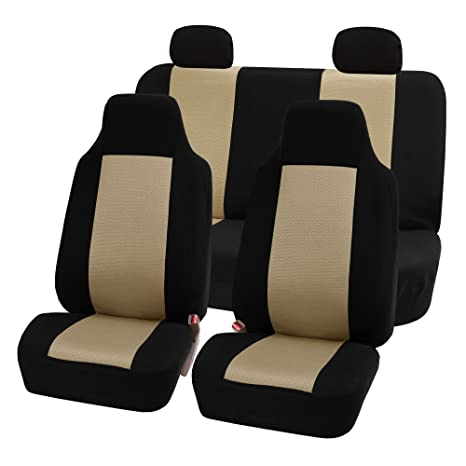 FH GROUP FB102112 Classic Cloth Car Seat Covers Beige Black Color Fit