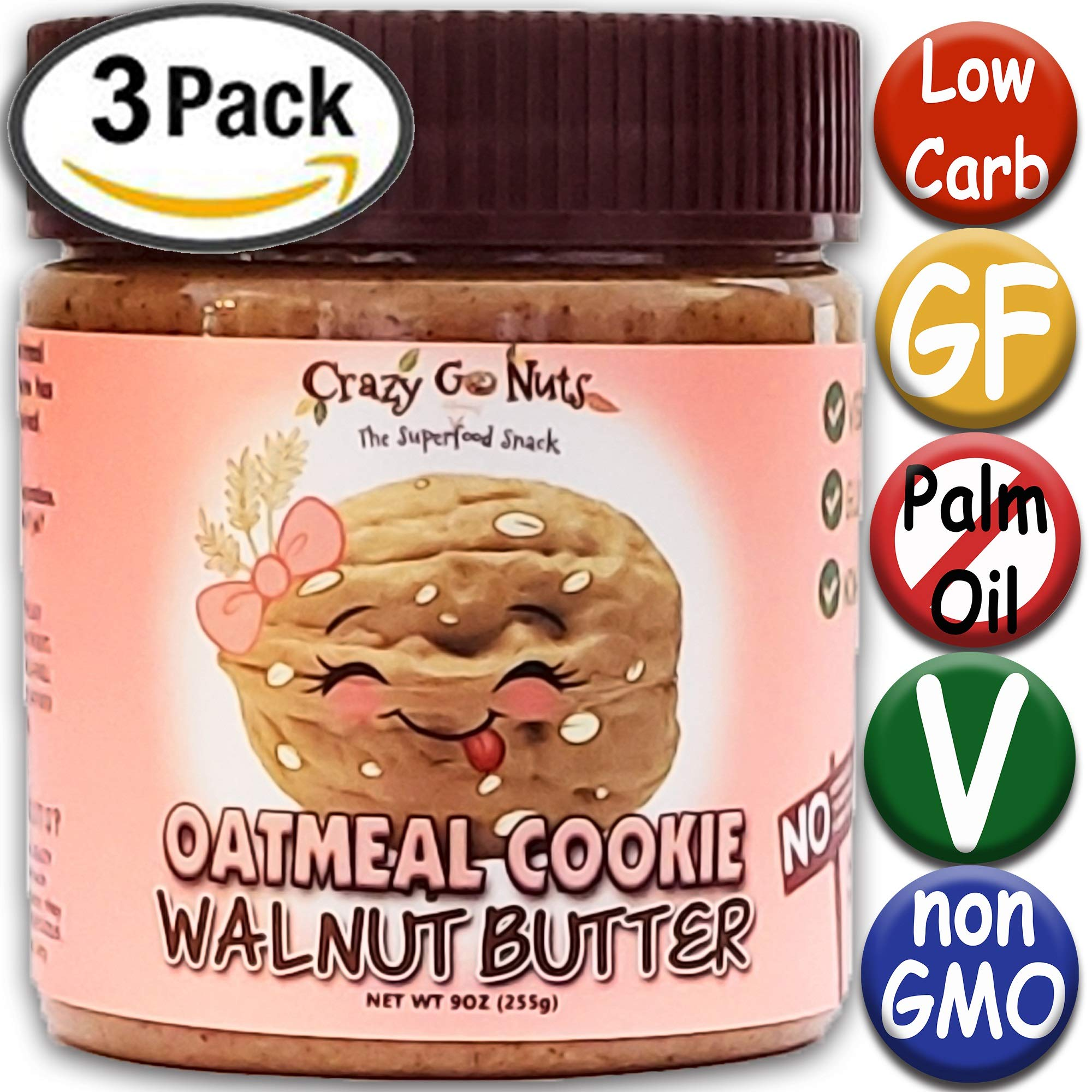 Crazy Go Nuts Flavored Walnut Butter & Healthy Snacks: Gluten Free, Vegan, Low Carb, Non GMO + Keto Snacks, 9oz 3 pack - Oatmeal Cookie by Crazy Go Nuts