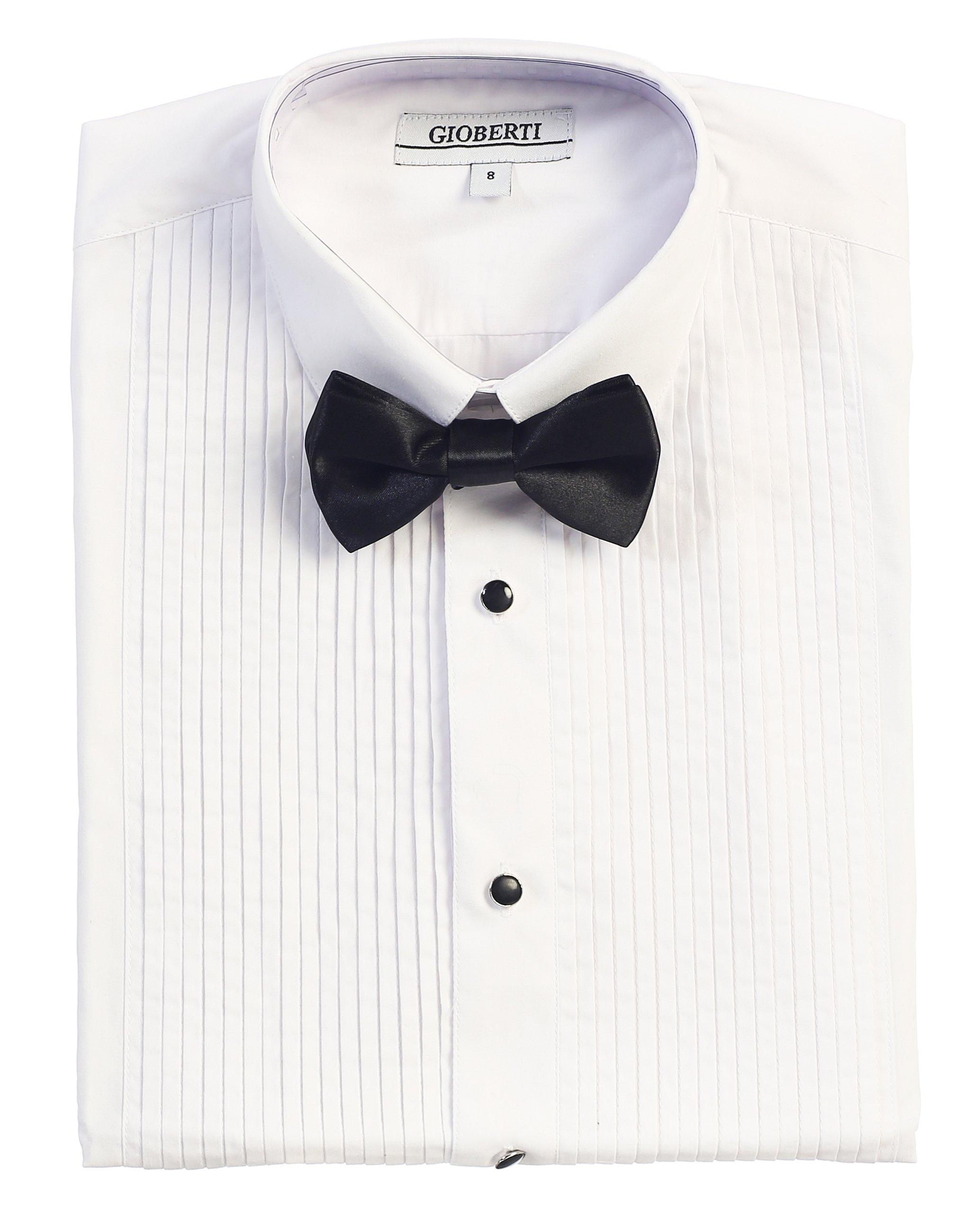 Gioberti Boy's Tuxedo Dress Shirt with Bow Tie, White, Size 5