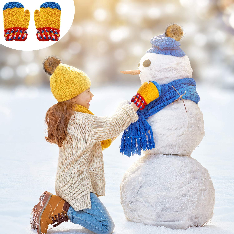 6 Pairs Kids Knitted Mittens Cute Winter Mittens Boys Girls Mittens Gloves