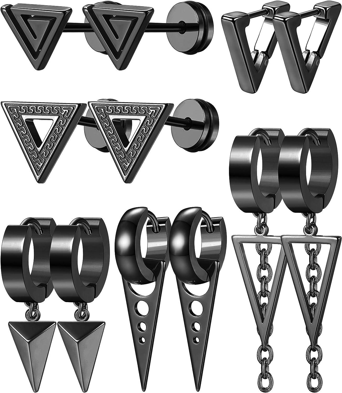 ORAZIO 6 Pairs Stainless Steel Dangling Triangle Earrings Set for Men Women Geometric Punk Kpop Huggie Hinged Hoop Earrings