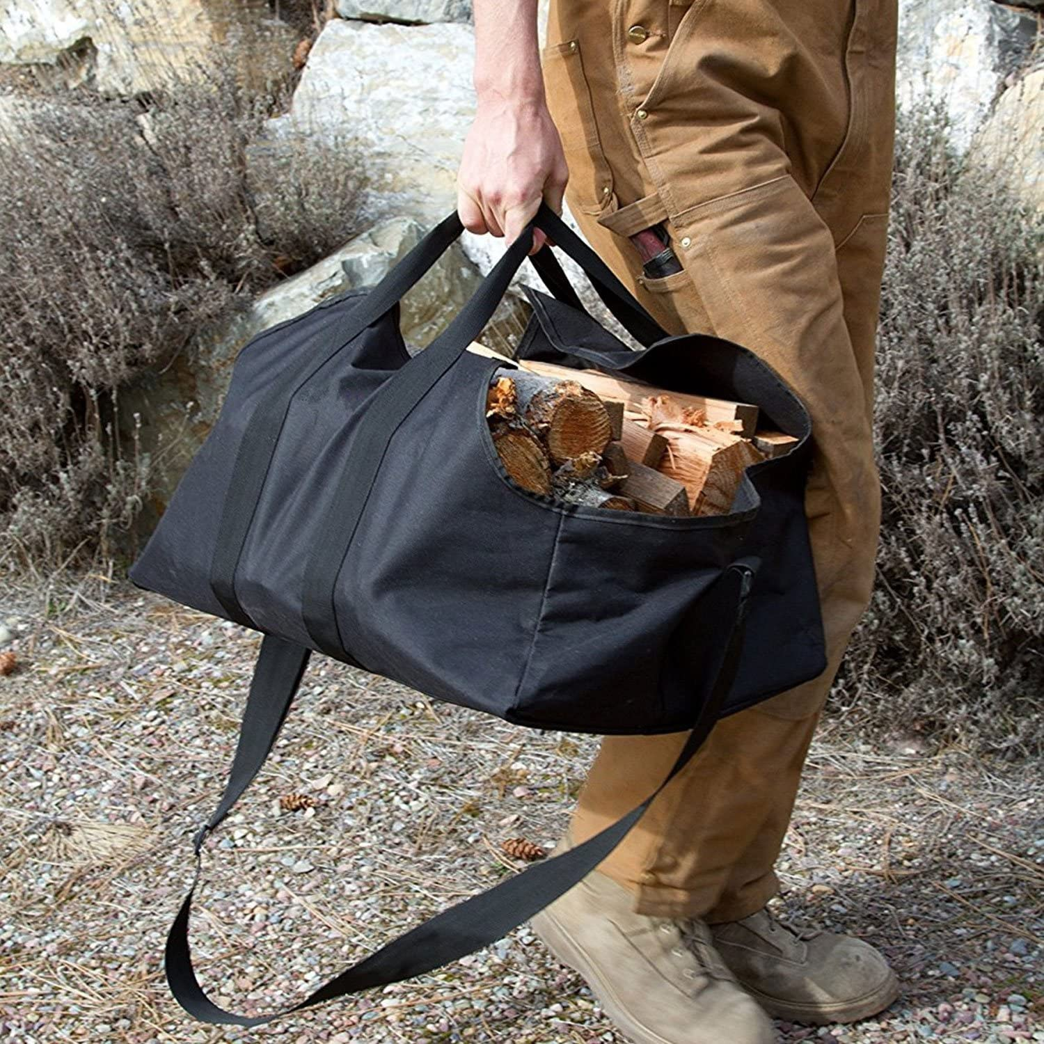 UNISTRENGH Log Carriers Firewood Carrier Log Tote Heavy Duty Best Bag for Carrying Wood Dust-Proof Collapsible Black