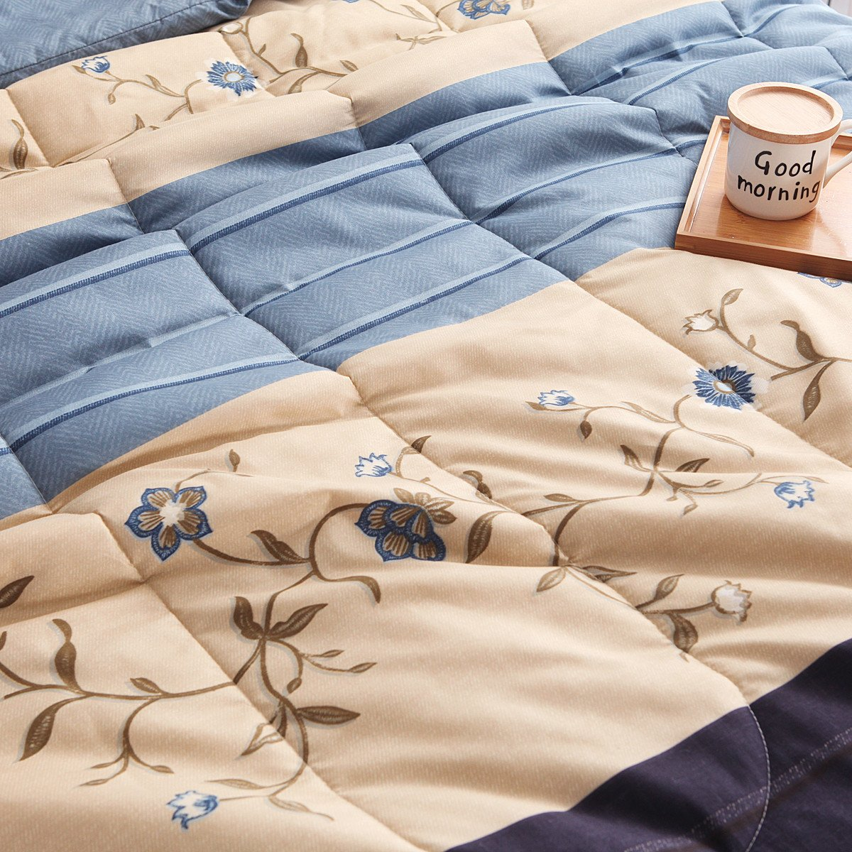 YOUSA 3-Piece Floral Quilts Striped Comfoter Bedding Sets Boys and Girls Bedspread Blue-Floral