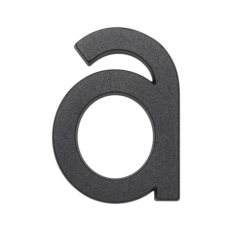 Metafranc Hausnummer a - Leichtmetall - schwarz - 95 mm  - 3D Design - Gute Lesbarkeit - Individuelle Kombinationsmö glichkeiten / Beschriftung / Kennzeichnung / Buchstabe / Haustü r / Hauswand / Gartentor / 423607 Meister