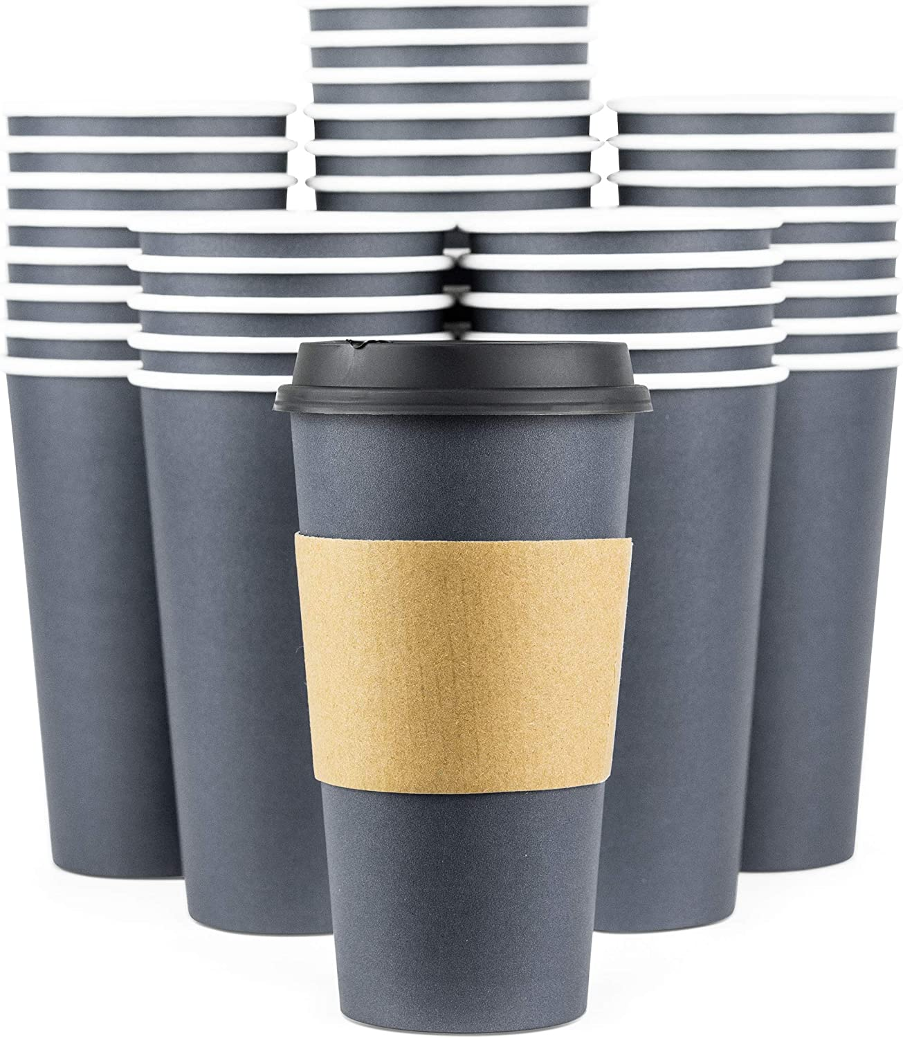 Glowcoast Disposable Coffee Cups With Lids - 20 oz To Go Coffee Cup With Lid (90 Set). Large Togo Travel Paper Hot Cups With Sleeves. Insulated For Hot and Cold Beverage Drinks (Dusk Grey)
