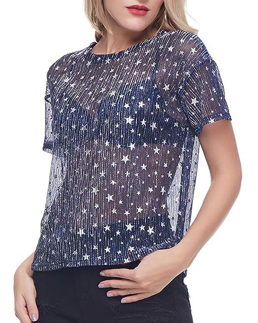 GAMISS Mujer Blusas Transparentes Impresión Cielo Estrellas Camisetas de Mangas Cortas Cuello Redondo Camisa Azul S
