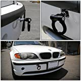 DNA MOTORING DNA THK-E-BK Black Aluminum Front/Rear European Car Trailer Tow Hook Ring Kit-M16 x 3