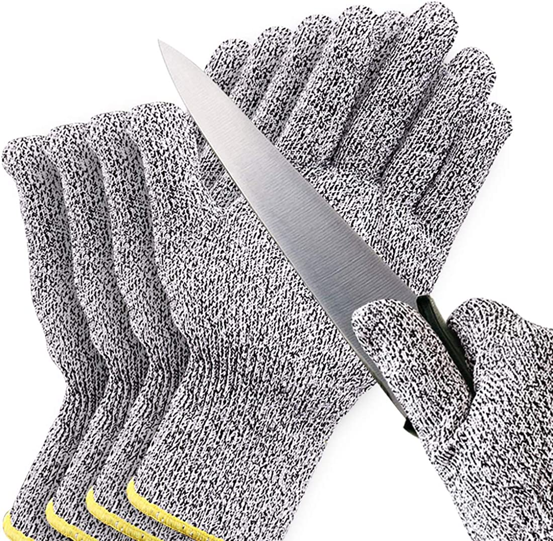 Cut Resistant Gloves, 2 Pairs Safe Cut Resistant Gloves Food Grade Level 5 Protection Safety Cutting Gloves for Kitchen