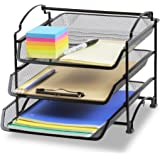 SimpleHouseware 3 Tier Stackable Desktop Document Letter Tray Organizer, Black