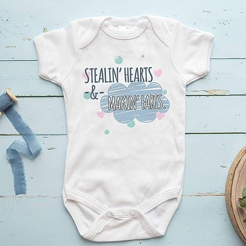 Six Bunnies Short Sleeved Babygrow Hearts n Stars