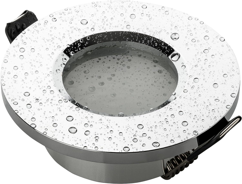 SEBSON® Foco empotrable techo, para baño (IP44), redondo, cromo, incl. GU10 casquillo (LED/Halógeno)