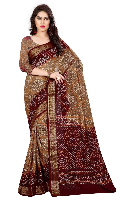 Divine International Women's Art Silk Plen Bodar Bandhani Sarees (Brown + Camel)