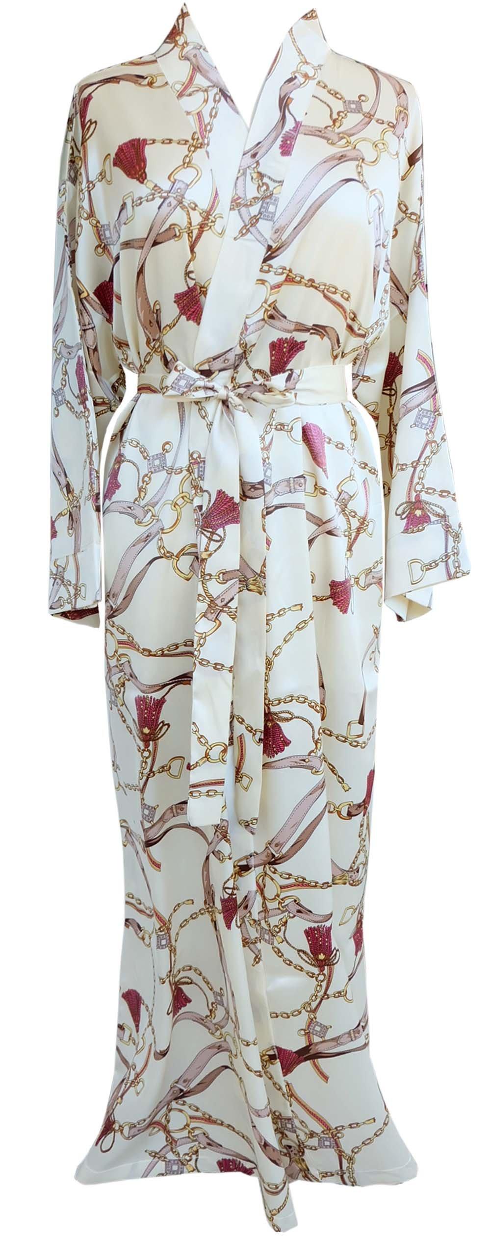 JANA JIRA Women's Long Ankle Length Robe for Women Plus Size Nightgowns, White/Cream, 2XL/3XL