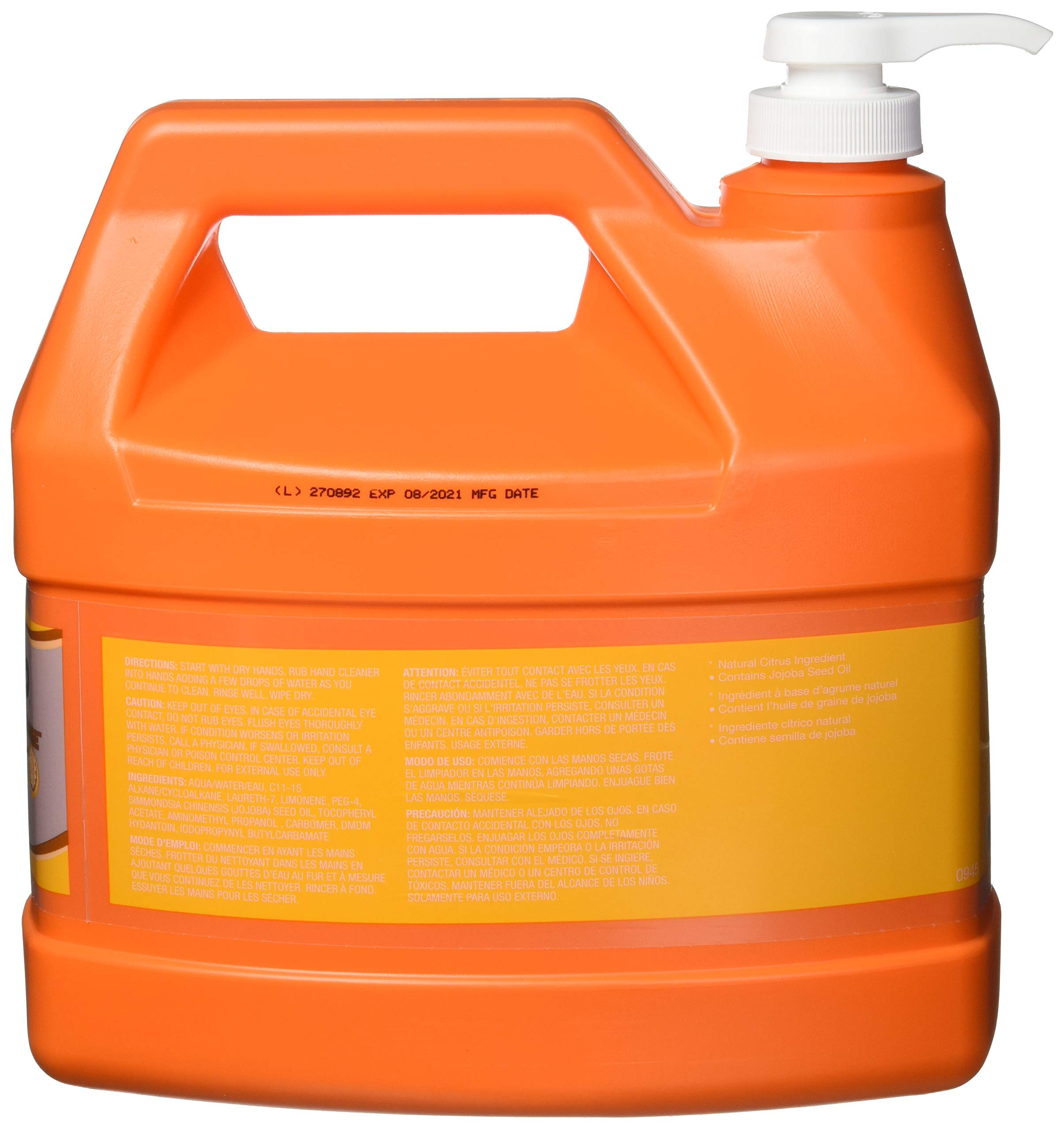 GOJO Natural Orange Smooth Hand Cleaner, Citrus Scent, 1 Gallon Quick Acting Hand Cleaner Pump Bottle (Case of 4) - 0945-04 by Gojo (Image #2)
