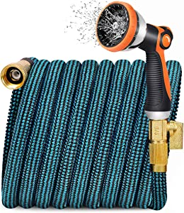 JOOIKOS Expandable Garden Hose 100ft - Flexible Water Hose with 10 Functions Spray Nozzle and Durable Triple Latex Core with 3/4