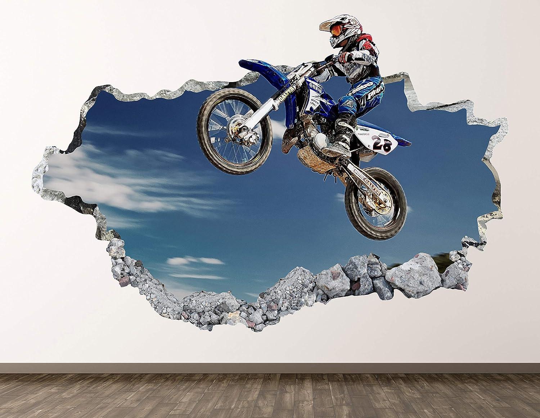 West Mountain Motocross Wall Decal Art Decor 3D Smashed Jumping Sticker Poster Kids Room Mural Custom Gift BL419 (50