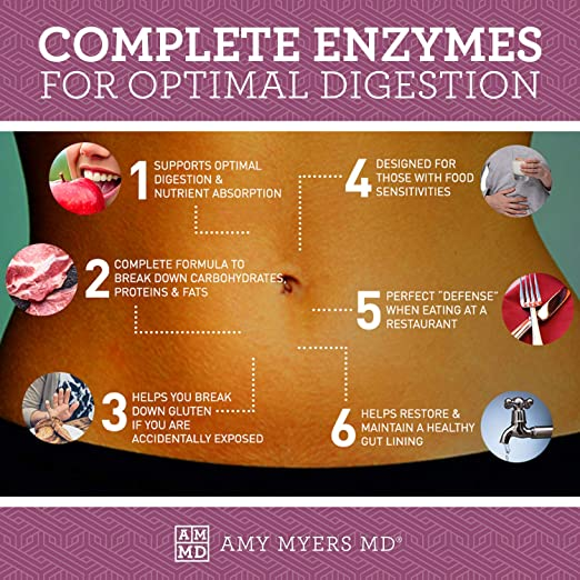 Dr. Amy Myers Digestive Enzymes – 19 Enzymes to Support IBS, Leaky Gut, Bloating, Constipation, Gluten Exposure - Amylase, Lactase, Lipase, Alkaline ...