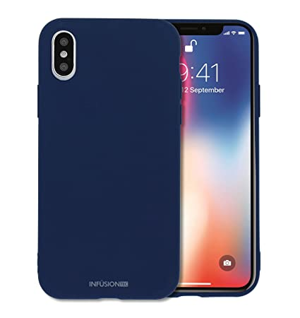 newest collection bc84d a19e4 Silicone iPhone x case cover for iPhone X Low Profile TPU Liquid Grip Gel  Impact and Shockproof by InfusionTec - Navy Blue