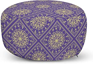 Lunarable Orient Ottoman Pouf, Oriental and Traditional Mandala Inspired Floral Eastern Vibes, Decorative Soft Foot Rest with Removable Cover Living Room and Bedroom, Blue Purple