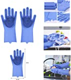 Alciono Magic Dishwashing Gloves with Scrubber, Silicone Cleaning Reusable Scrub Gloves for Wash Dish,Kitchen, Bathroom(1 Pair: Right + Left Hand) (Blue)