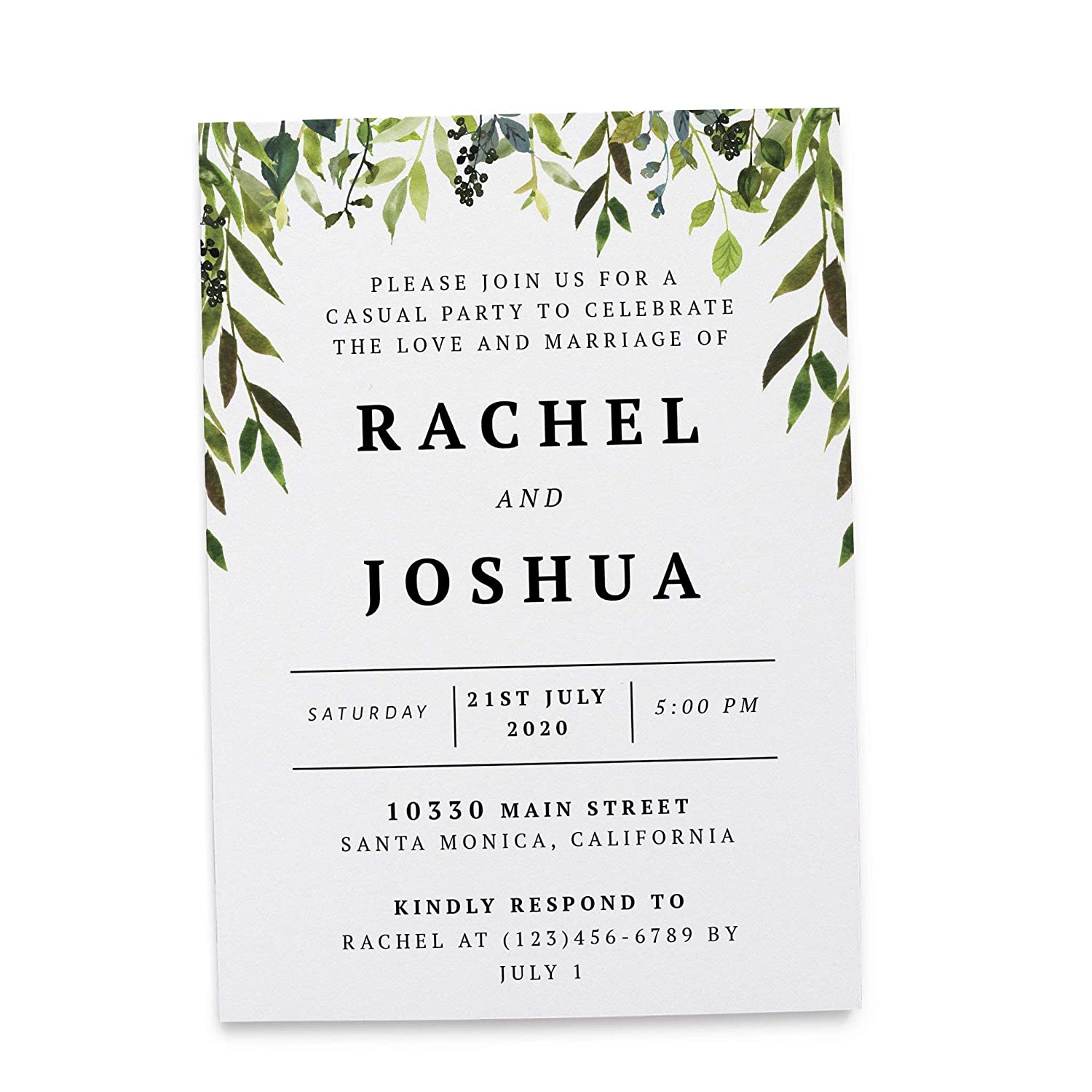 Wedding Reception Invitation Cards - Marriage Reception Invitation - We Eloped Party Invites - Custom, Personalized, Unique Card Stock - Green Leaves Themed ...