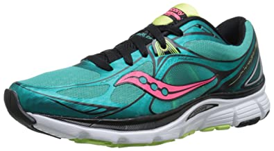 Saucony Women's Mirage 5 Road Running Shoe, Green/Coral, ...