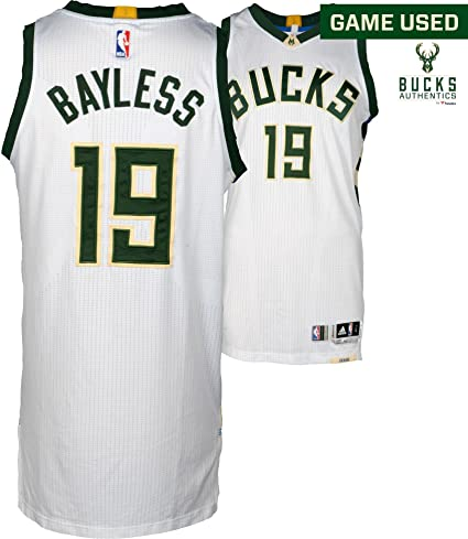 hot sale online 198bc 9c036 Jerryd Bayless Milwaukee Bucks Game-Used White #19 Jersey vs ...
