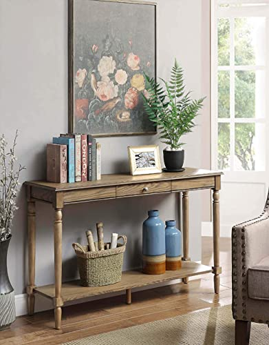 Convenience Concepts French Country Console Table with Drawer and Shelf, Driftwood,