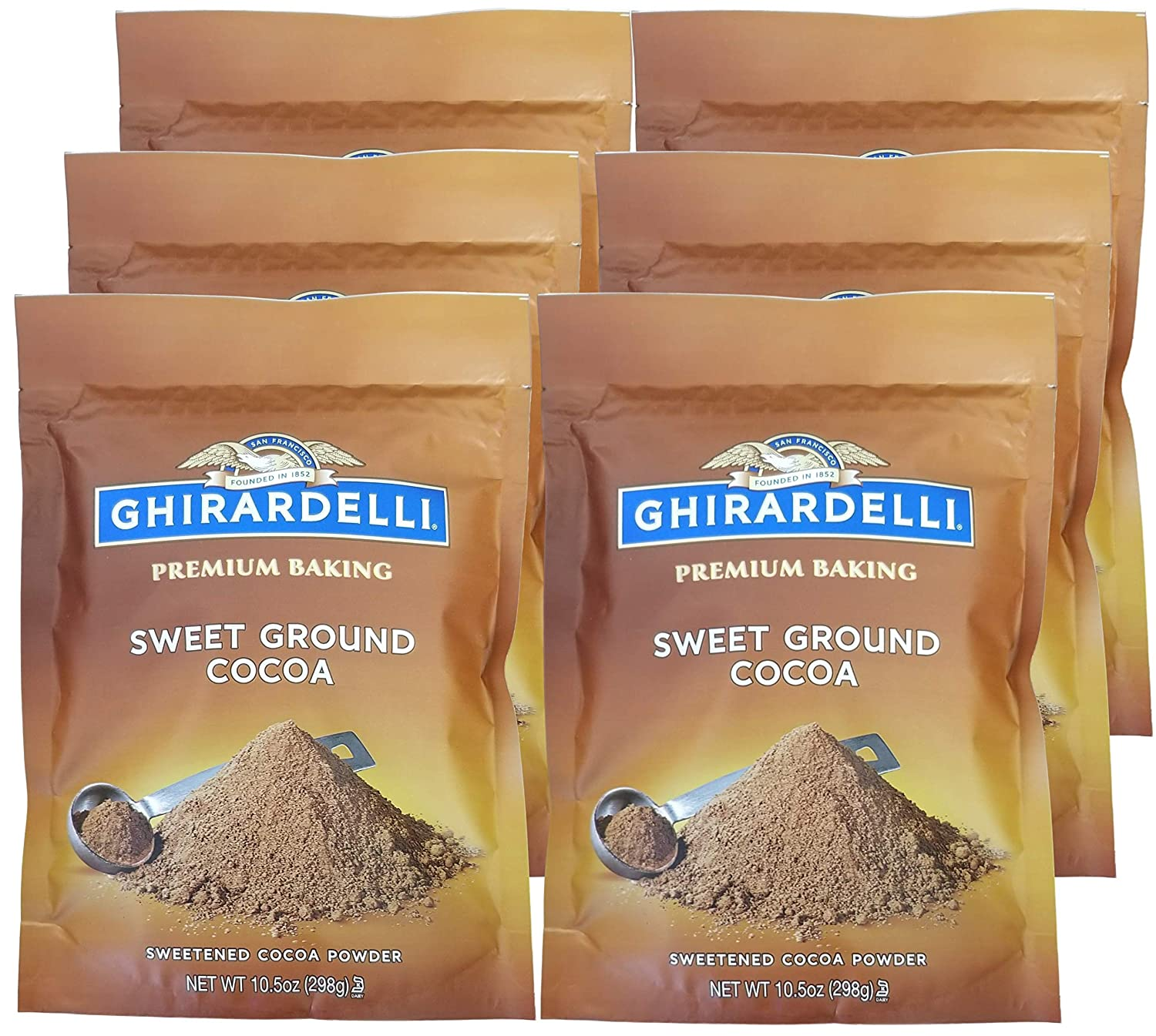 Ghirardelli Sweet Ground Cocoa Chocolate Powder, 10.5 Ounce Pouch -- 6 per case.