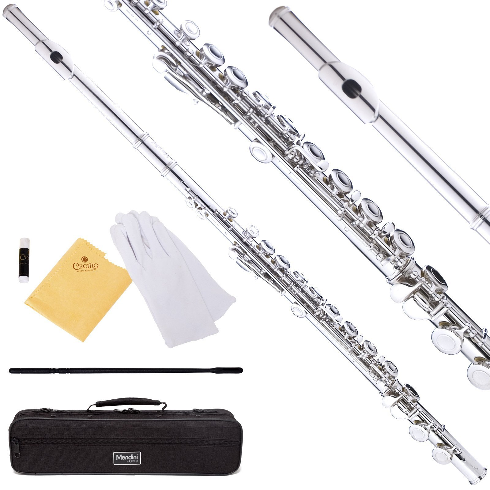 Mendini Closed Hole C Flute with Case, Joint Grease, Cleaning Rod, Cloth, Gloves, and 1-Year Warranty – Nickel Plated, MFE-N