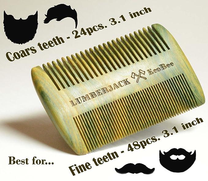 Bartkamm Doppelseitiger, regalo para los hombres - Un Holzkamm la barba y Lederbezug, de bolsillo, de madera de sándalo, rara y espesor de dientes, ...