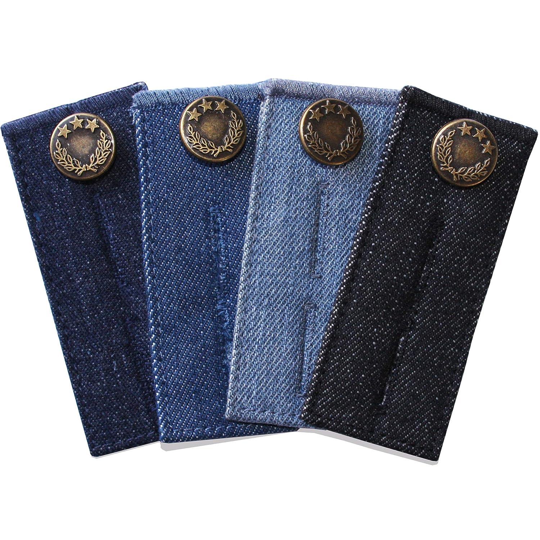 4 unidades, metal ZEFFFKA Denim Bot/ón extensor de cintura para pantalones vaqueros y faldas varios colores