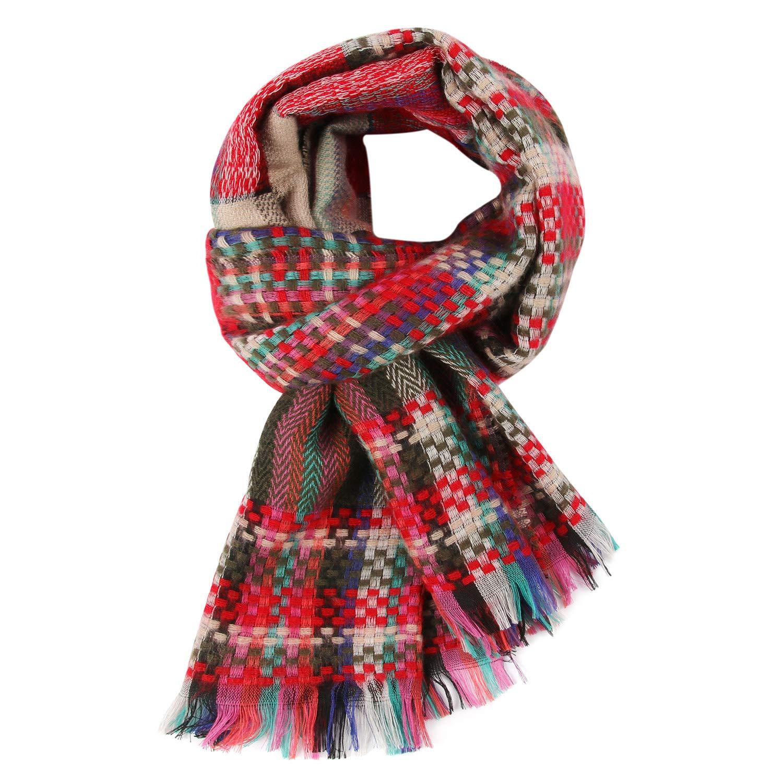 Conysan Winter Tassel scarf,Warm Tartan Long Large Scarves Wraps for women, Wool Spinning Tassel Shawl